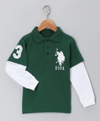 Green 'USPA' Layered Polo - Boys
