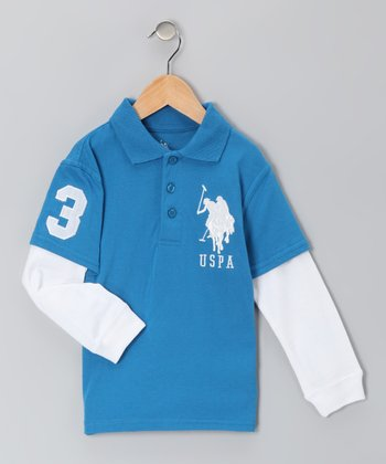 Blue 'USPA' Layered Polo - Boys