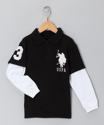 Black 'USPA' Layered Polo - Boys