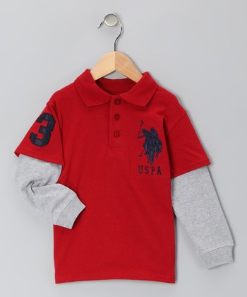 Red 'USPA' Layered Polo - Boys