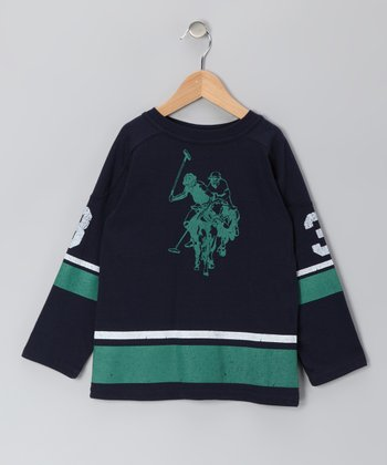 Navy U.S. Polo Long-Sleeve Tee - Boys
