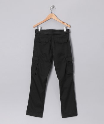 Black Stitch Cargo Pants - Boys