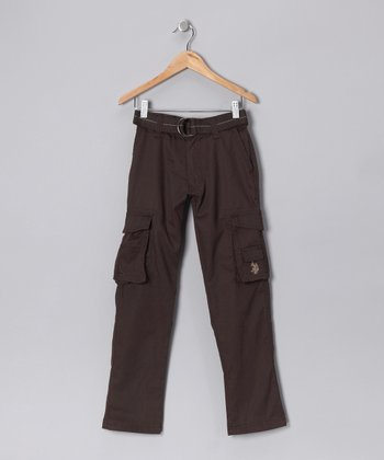 U.S. POLO ASSOC Brown Stitch Cargo Pants - Boys