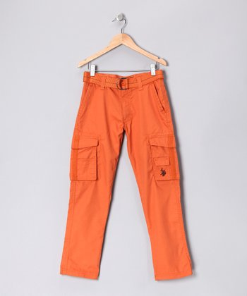 U.S. POLO ASSOC Orange Stitch Cargo Pants - Boys