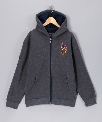 U.S. POLO ASSOC Charcoal Zip-Up Hoodie - Boys