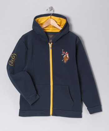 U.S. POLO ASSOC Navy Zip-Up Hoodie - Boys