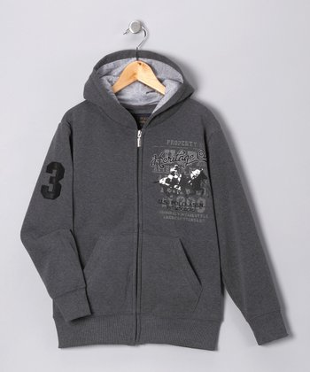 U.S. POLO ASSOC Charcoal 'Heritage Cup' Zip-Up Hoodie - Boys
