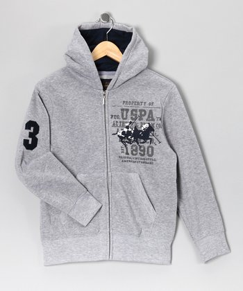 U.S. POLO ASSOC Gray 'Heritage Cup' Zip-Up Hoodie - Boys