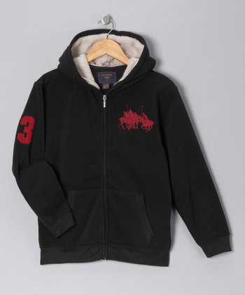 U.S. POLO ASSOC Black '3' Zip-Up Hoodie - Boys