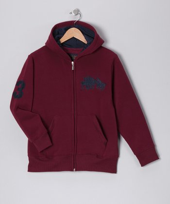 U.S. POLO ASSOC Maroon '3' Zip-Up Hoodie - Boys