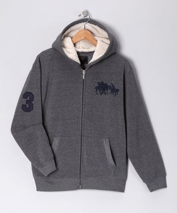 U.S. POLO ASSOC Charcoal '3' Zip-Up Hoodie - Boys