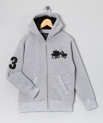 U.S. POLO ASSOC Gray '3' Zip-Up Hoodie - Boys
