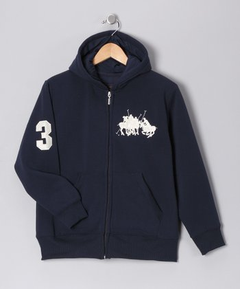 U.S. POLO ASSOC Navy '3' Zip-Up Hoodie - Boys