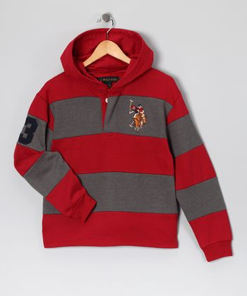 U.S. POLO ASSOC Red Stripe Hoodie - Boys