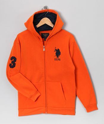 U.S. POLO ASSOC Burnt Orange Zip-Up Hoodie - Boys