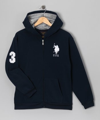 U.S. POLO ASSOC Navy & White Zip-Up Hoodie - Boys