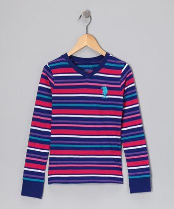 U.S. POLO ASSOC Blue Stripe V-Neck Tee - Girls