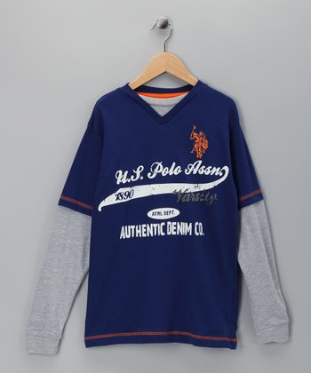 U.S. POLO ASSOC Blue Logo Layered Tee - Boys