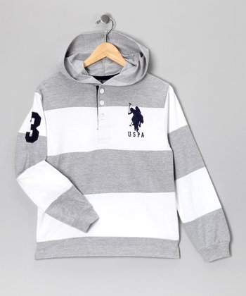 U.S. POLO ASSOC Gray & White Stripe Hoodie - Boys