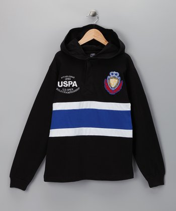 U.S. POLO ASSOC Black & Blue Stripe Hoodie - Boys