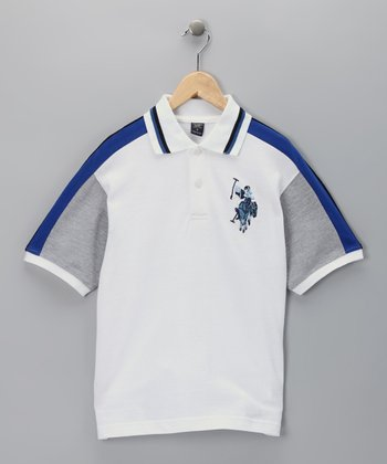 U.S. POLO ASSOC White & Blue Polo - Boys