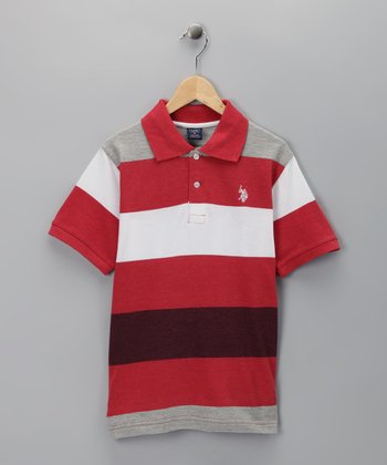 U.S. POLO ASSOC Red Stripe Polo - Boys