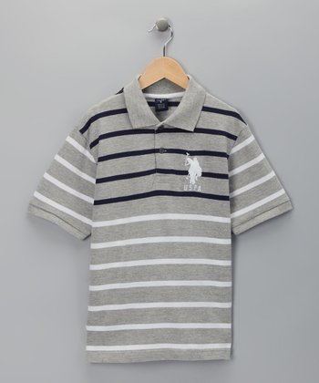 U.S. POLO ASSOC Gray Stripe Polo - Boys