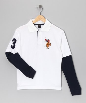 White '3' Layered Polo - Boys