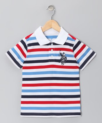 Marina Blue & Tango Red Stripe Polo - Boys