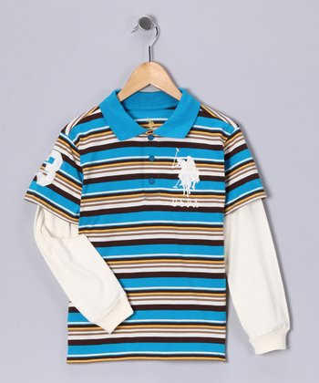U.S. POLO ASSOC Turquoise Stripe Layered Polo - Boys