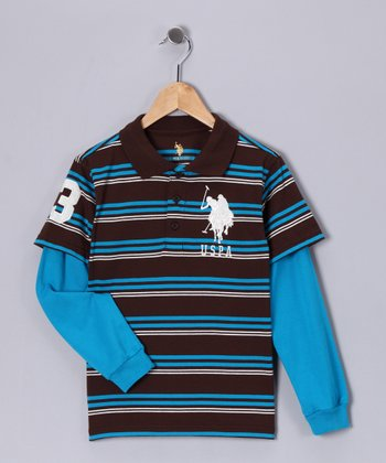 U.S. POLO ASSOC Brown Stripe Layered Polo - Boys
