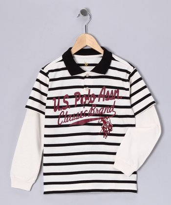 White Stripe Layered Polo - Boys