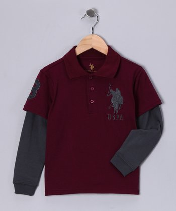 Black Cherry Layered Polo - Boys