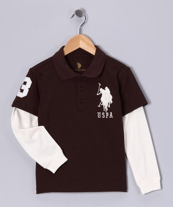 U.S. POLO ASSOC Haymarket Brown Layered Polo - Boys