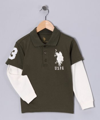 Sherwood Olive Layered Polo - Boys