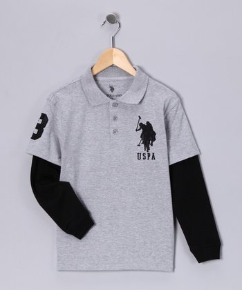 U.S. POLO ASSOC Heather Gray Layered Polo - Boys