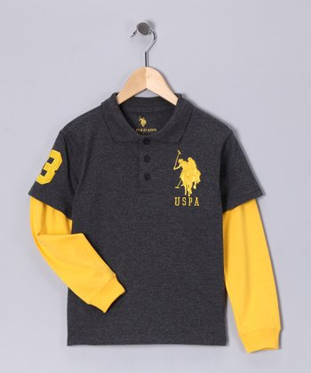 U.S. POLO ASSOC Charcoal & Yellow Layered Polo - Boys