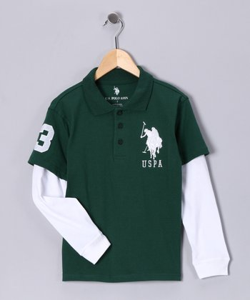 Green & White Layered Polo - Boys