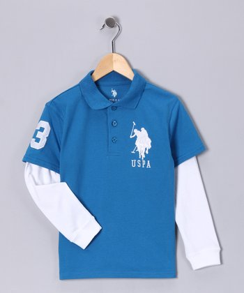 U.S. POLO ASSOC Bedford Blue Layered Polo - Boys