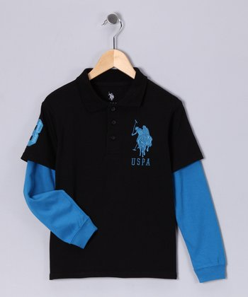 U.S. POLO ASSOC Black & Sky Layered Polo - Boys