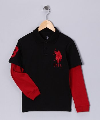 Black & Red Layered Polo - Boys