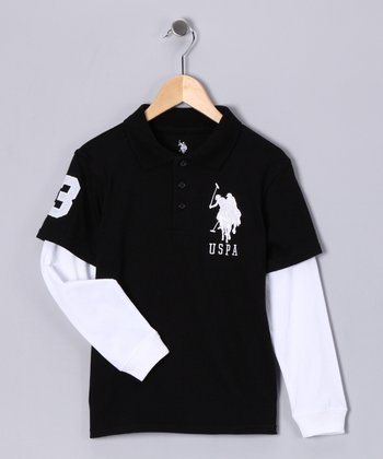 Black & White Layered Polo - Boys