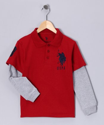 Red Crate & Heather Gray Layered Polo - Boys