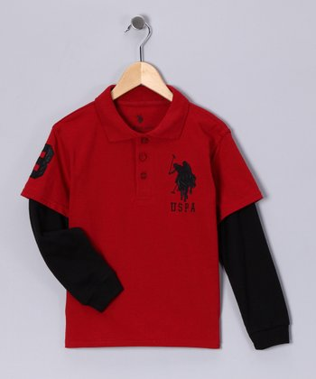 U.S. POLO ASSOC Red Crate & Black Layered Polo - Boys