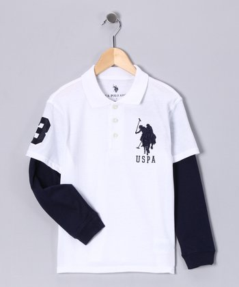 White & Navy Layered Polo - Boys