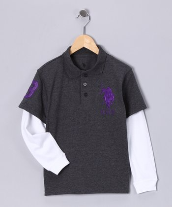 Charcoal  & White Layered Polo - Boys