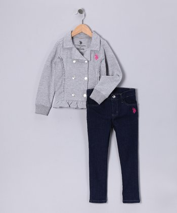 U.S. POLO ASSOC Gray Jacket & Skinny Jeans - Infant & Toddler
