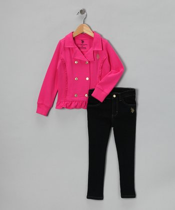 U.S. POLO ASSOC Rose Jacket & Skinny Jeans - Toddler
