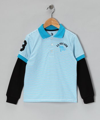 Sky Blue Layered Polo - Boys