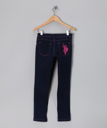 Dark Wash & Pink Skinny Jeans - Girls
